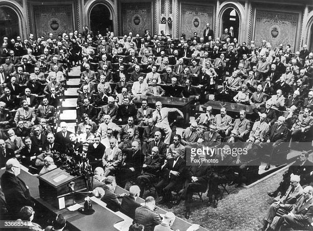 British Prime Minister Winston Churchill addresses the US Congress.