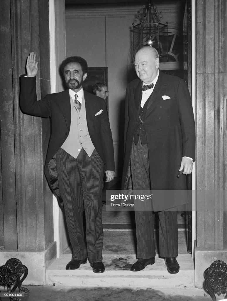 British Prime Minister Winston Churchill (1874 - 1965) and Haile Selassie (left), the Emperor of Ethiopia, outside 10 Downing Street in London after a lunch in Selassie's honour, 22nd October 1954.