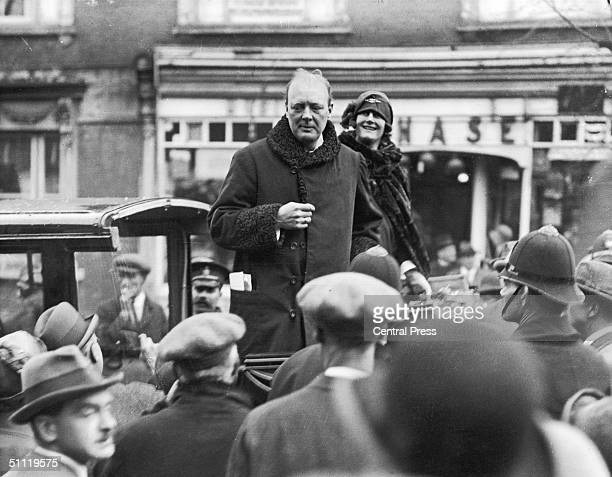 British Prime Minister Winston Churchill and his wife Clementine in London during the 1924 election campaign He was later elected Conservative MP for...