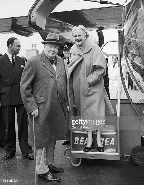 British prime minister Winston Churchill and his wife Clementine leave London Airport for a holiday in the south of France 9th September 1952