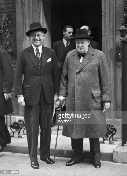 British Prime Minister Winston Churchill and Joseph Kennedy the US Ambassador to the UK outside 10 Downing Street in London 17th October 1940 Kennedy...