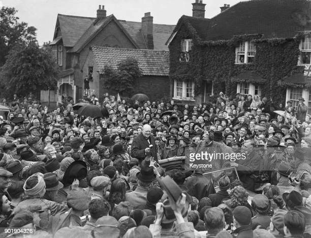 British Prime Minister Winston Churchill and Lady Churchill arrive in his constituency of Woodford Essex during his election campaign 26th May 1945