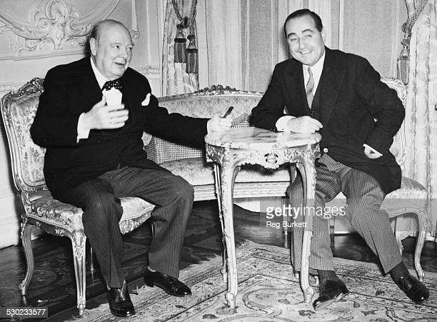 British Prime Minister Winston Churchill and Turkish Prime Minister Adnan Menderes seated together at the Turkish Embassy in London October 14th 1952