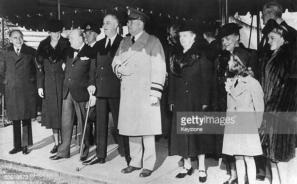 British Prime Minister Winston Churchill and US president Franklin D Roosevelt after attending a Christmas service at the Foundry Methodist Church in...