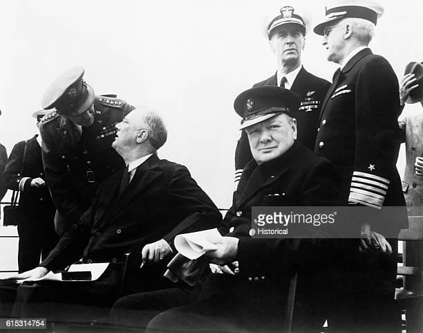 British Prime Minister Winston Churchill and US President Franklin D Roosevelt meet aboard a battleship cruising the Atlantic Ocean for the Atlantic...