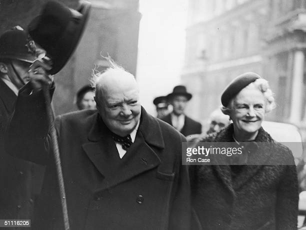 British Prime Minister Winston Churchill arrives at Downing Street with his wife Clementine after their holiday in Jamaica 29th January 1953