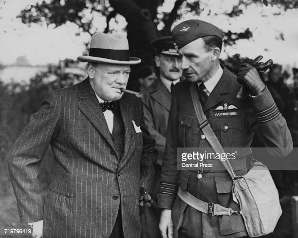 British Prime Minister Winston Churchill during a visit to a Royal Air Force Fighter station June 1940