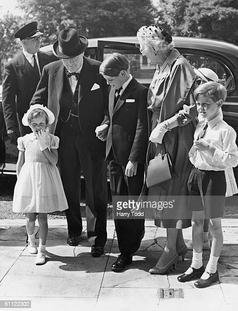 British Prime Minister Winston Churchill his wife Clementine at the Wren Chapel of the Royal Hospital, Chelsea, 20th July 1959, to attend the...