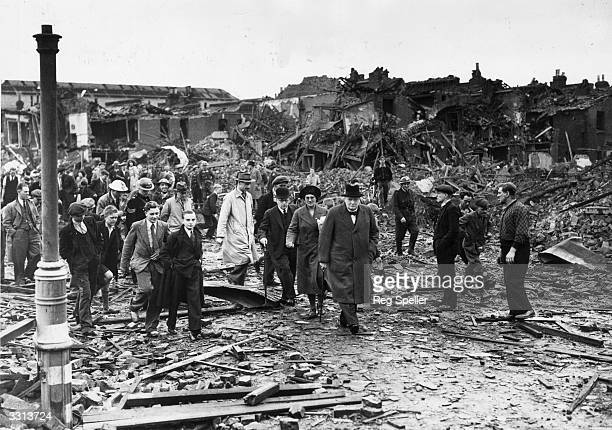 Winston Churchill inspecting air raid damage in Battersea south London