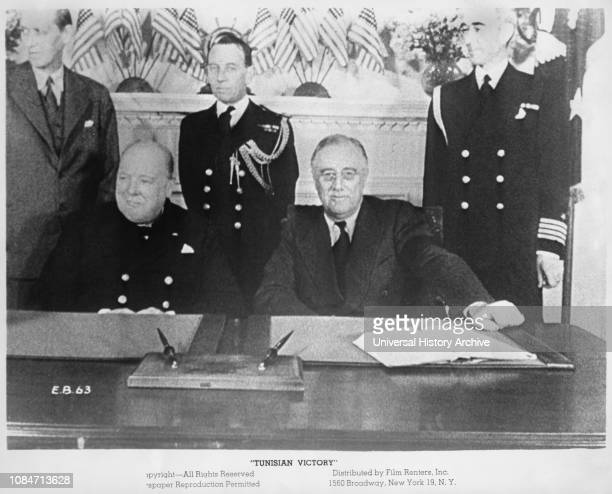British Prime Minister Winston Churchill L and US President Franklin Roosevelt meeting at White House during World War II June 19 publicity still...