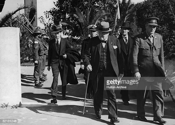 British Prime Minister Winston Churchill leaves his villa at Anfa February 1943 after the Casablanca Conference at which it was decided to demand the...