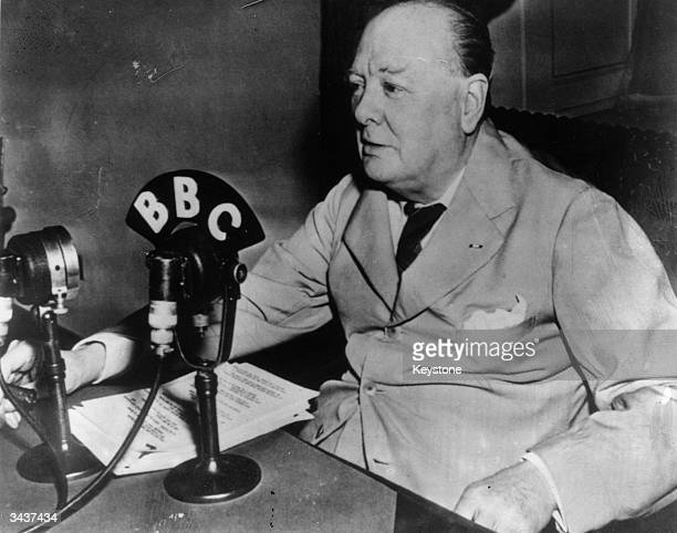 British prime minister Winston Churchill makes a radio broadcast to the British public from the White House Washington DC in connection with the...