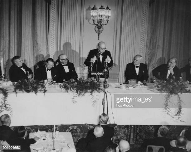 British Prime Minister Winston Churchill makes a speech at a banquet in his honour at the Hotel Chateau Laurier in Ottawa Canada 14th January 1952...