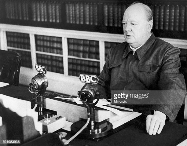 British Prime Minister Winston Churchill making a radio broadcast from Downing Street during the Second World War. November 1942.
