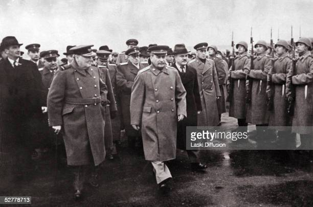 British Prime Minister Winston Churchill on a visit to Moscow 1944 From left to right Anthony Eden Winston Churchill Joseph Stalin and Vyacheslav...