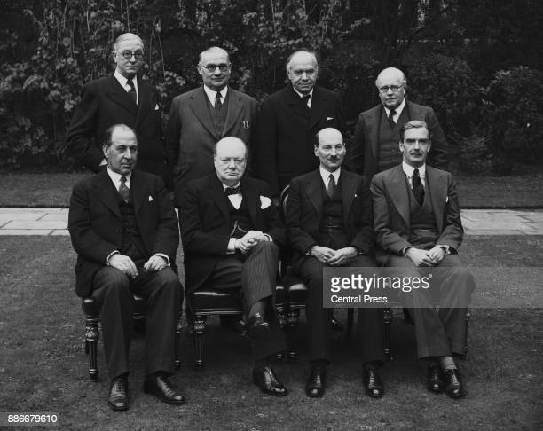 British Prime Minister Winston Churchill poses with his cabinet in the garden of 10 Downing Street in London 16th October 1941 From left to right...