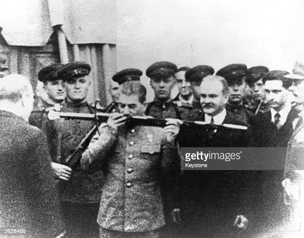 British prime minister Winston Churchill presenting premier Joseph Stalin of Russia with the Sword of Stalingrad in acknowledgement of the Russian...