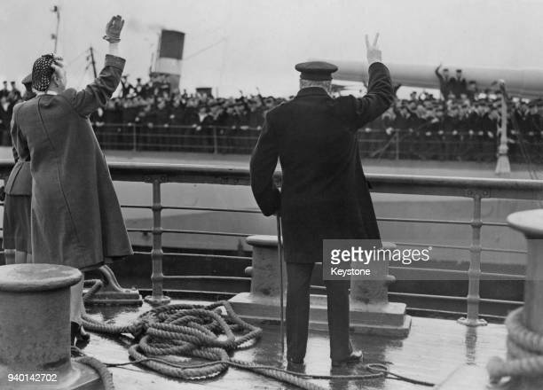 British Prime Minister Winston Churchill returns from Canada and the USA on the battlecruiser 'HMS Renown', September 1943. Next to him is his wife...