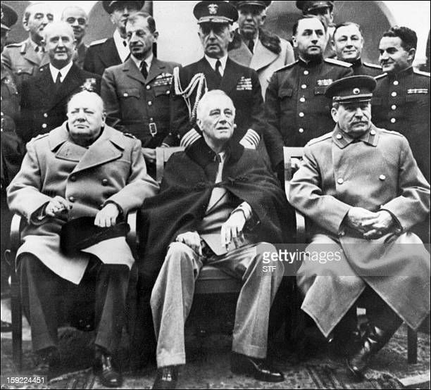 British Prime minister Winston Churchill US president Franklin Delano Roosevelt and USSR Secretary general of the Soviet Communist Party Joseph...
