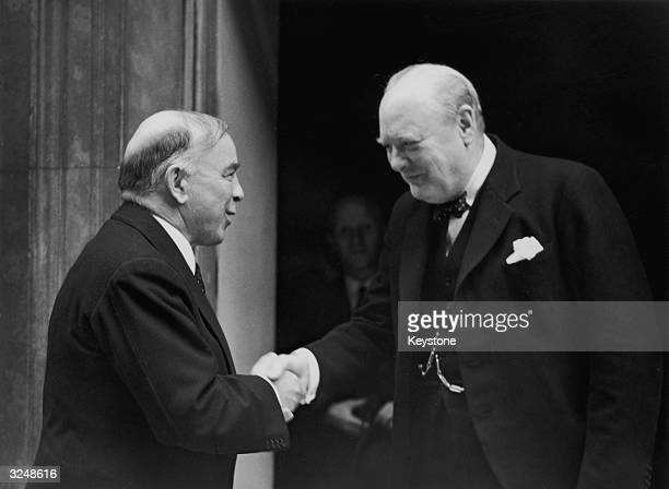 British Prime Minister Winston Churchill with his Canadian counterpart Mackenzie King at Downing Street London August 21 1941
