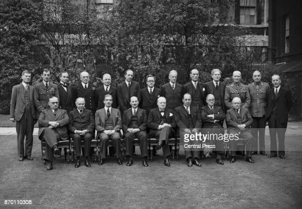 British Prime Minister Winston Churchill with his wartime cabinet, World War II, 1941. From left to right Ernest Bevin, Lord Beaverbrook, Anthony...