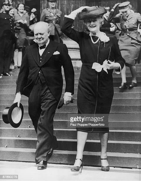 British Prime Minister Winston Churchill with his wife Clementine leaving a thanksgiving service at St Paul's Cathedral held on the first Sunday...