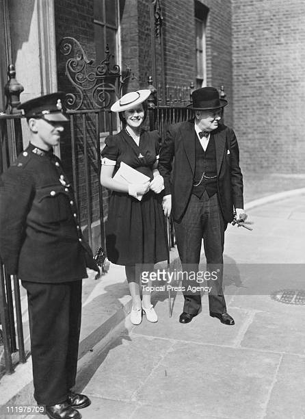 British Prime Minister Winston Churchill with his youngest daughter Mary SpencerChurchill outside 10 Downing Street London 3rd July 1942