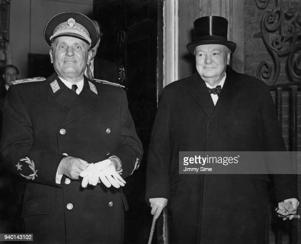 British Prime Minister Winston Churchill with Yugoslav leader Josip Broz Tito outside 10 Downing Street in London 16th March 1953