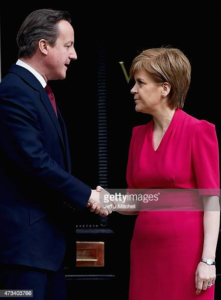 British Prime Minster David Cameron meets with Scottish First Minister and leader of the SNP Nicola Sturgeon at Bute House on May 15 2015 in...