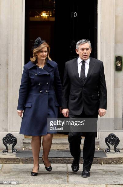 British Prime Minster Gordon Brown leaves Number 10 Downing Street with his wife Sarah Brown on May 8 2010 in London England With all the election...