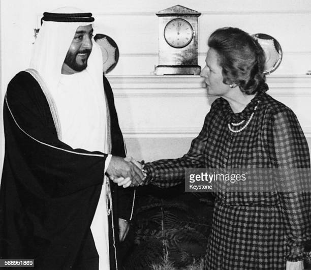 British Prime Minster Margaret Thatcher shaking hands with Crown Prince Sheikh Khalifa of Abu Dhabi at 10 Downing Street London July 18th 1984