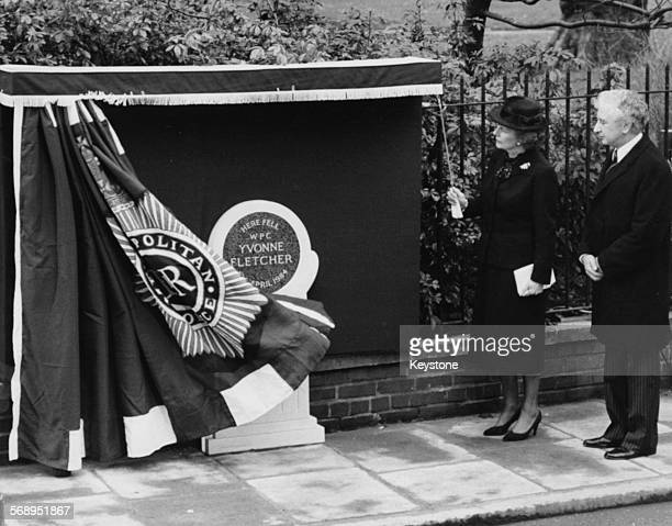 British Prime Minster Margaret Thatcher with film director Michael Winner unveiling a memorial plaque in honor of the murdered police woman Yvonne...