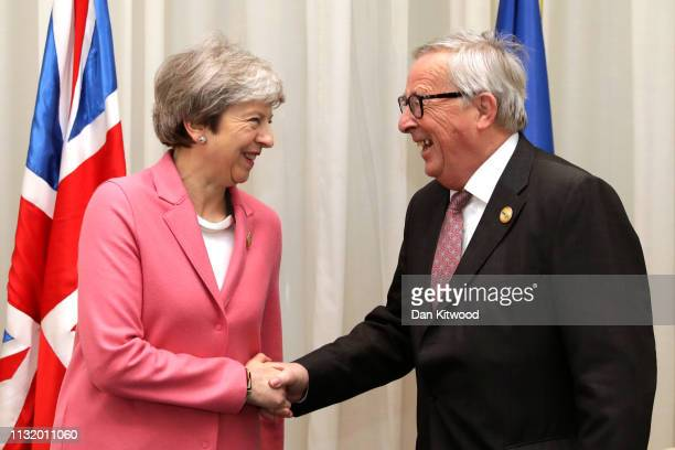 British Prime Minster Theresa May and President of European Commission Jean-Claude Junker hold bilateral talks during the first Arab-European Summit...