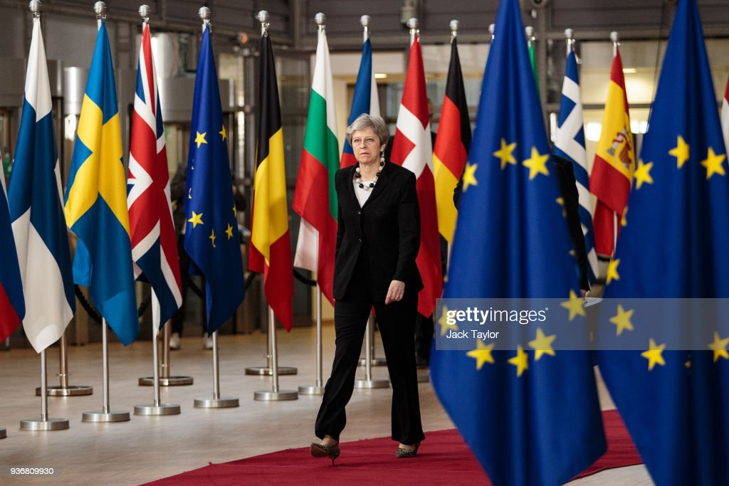 British Prime Minister Attends The European Council : News Photo