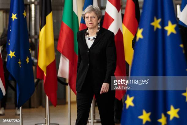 British Prime Minster Theresa May arrives at the Council of the European Union on the final day of the European Council leaders' summit on March 23...