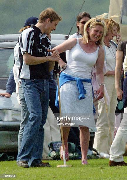 British Prince William with a mystery girl at Beaufort polo club on July 6 2003 in Tetbury England