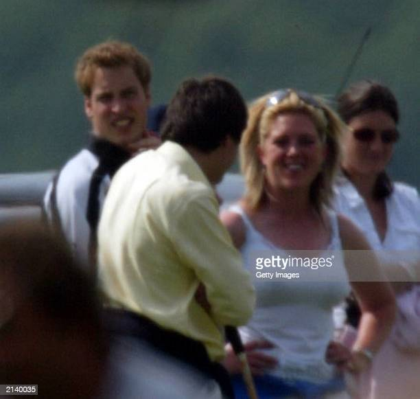 British Prince William with unidentified girl at Beaufort polo club on July 6 2003 in Tetbury England