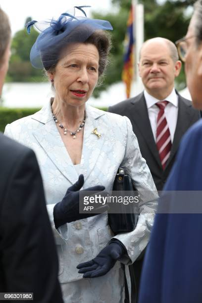 British Princess Anne attends a party marking the 91st Birthday of the Queen in Hamburg northern Germany on June 15 2017 PHOTO / POOL / Georg Wendt