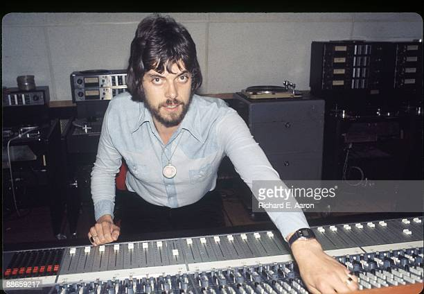 British producer and musician Alan Parsons poses at mixing desk in the control room of Media Sound Studios recording studio in 1979 in New York USA