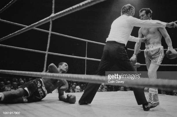 British professional boxer Alan Minter during a fight against American boxer Doug Demmings Wembley London UK 23rd October 1979