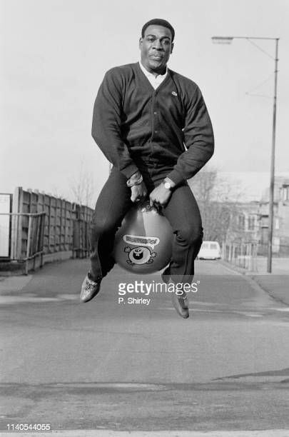 British professional boxer Frank Bruno jumping on a hopper ball UK 30th January 1984