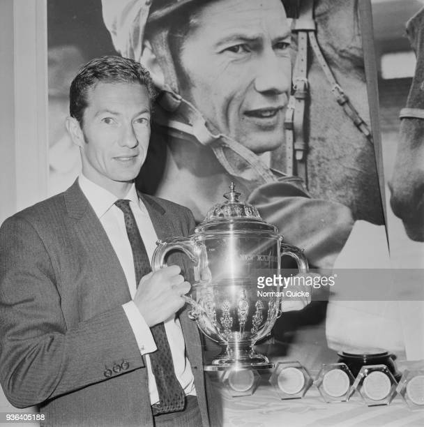 British professional jockey Lester Piggott wins Daily Express Sportsman of the Year trophy Savoy Hotel London UK 27th November 1968