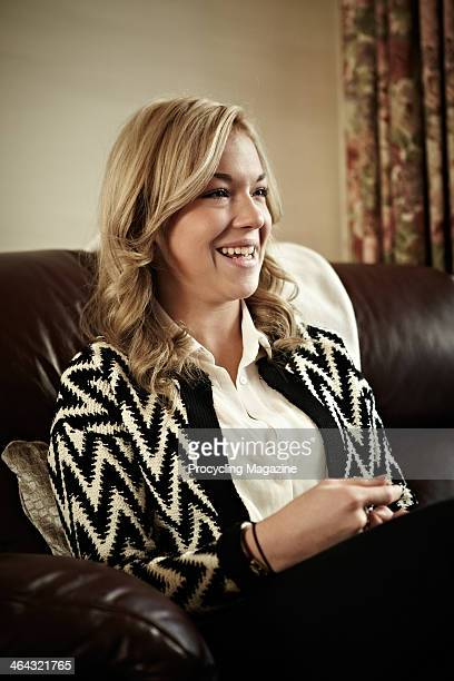 British professional road race cyclist and Junior World Road Race Champion Lucy Garner, photographed during an interview for Procycling Magazine,...