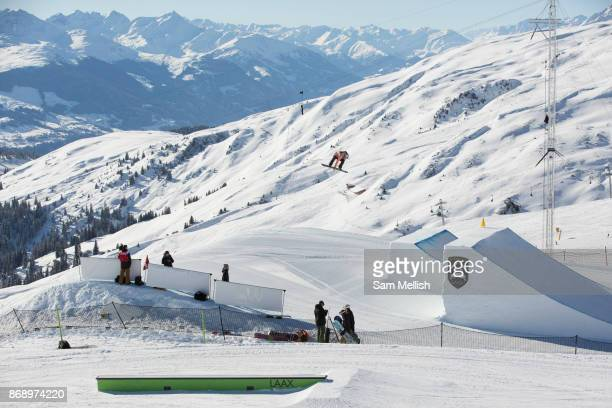 British professional snowboarder Katie Ormerod during the 2017 Laax Open Slopestyle competition on 19th January 2017 in Laax Switzerland The Laax...