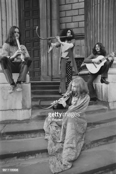 British progressive rock band Gryphon outside Saint Paul's Cathedral London UK 17th February 1973 they are Richard Harvey Dave Oberle Brian Gullard...