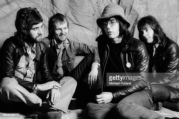 British progressive rock group Manfred Mann's Earth Band 26th February 1974 Left to right guitarist Mick Rogers drummer Chris Slade singer and...