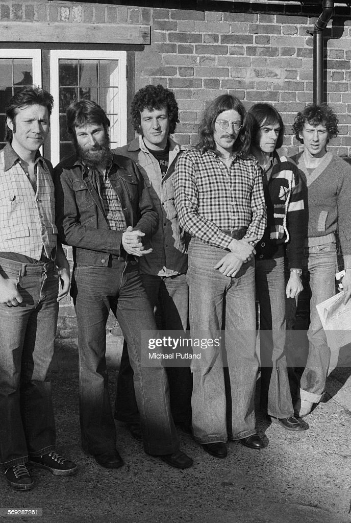 British progressive rock group Stackridge, February 1976. Left to right: singer and flautist Mike 'Mutter' Slater, bassist Jim 'Crun' Walter, saxophonist Keith Gemmell, singer and guitarist Andy Cresswell-Davis, keyboard player Dave Lawson and drummer Peter Van Hooke.