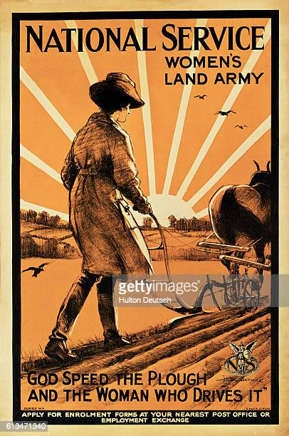 British propaganda poster from World War I encouraging women to join the Woman's Land Army