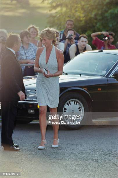 British property developer and art collector Peter Palumbo, chairman of Serpentine Gallery Trustees, greets British Royal Diana, Princess of Wales ,...