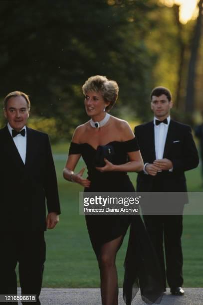 British property developer Peter Palumbo and British royal Diana, Princess of Wales wearing a black Christina Stambolian dress, attend a Vanity Fair...